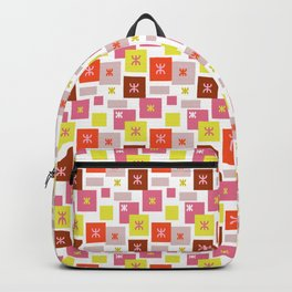Colorful square mosaic. Amazigh pattern, multicolored squares, Geometric patterns Backpack