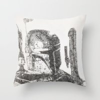 boba fett Throw Pillows featuring Boba Fett by urbanexpressionist