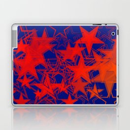 Vector blue background in red stars. For registration of paper or banners. Laptop & iPad Skin