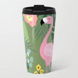 Summer tropical background. Flamingo bird with palm and banana leaves. Travel Mug