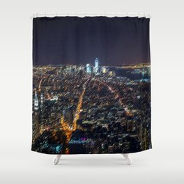 Midtown Manhattan and Freedom Tower Landscape Painting by Jeanpaul Ferro Shower Curtain