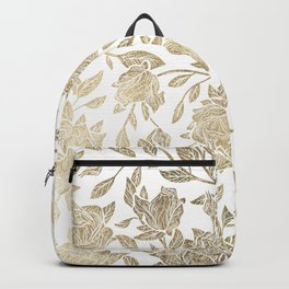 Elegant White Gold Luxury Roses Floral Backpack