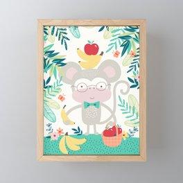 Monkey Goes to the Shops Framed Mini Art Print