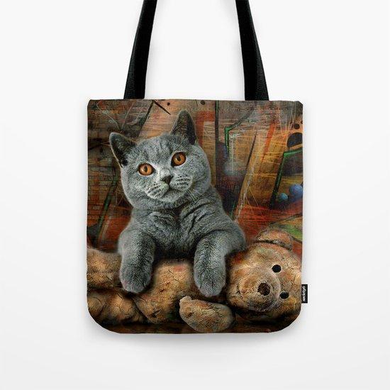 Cat Diesel with teddybear ! Tote Bag
