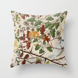 Marsh Tit and Field Mice Throw Pillow