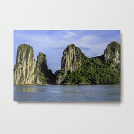 Beautiful Limestone Cliffs Covered in Green Trees and Bushes Rising up from Halong Bay, Vietnam Metal Print
