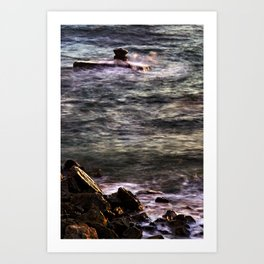 Waves at sunset Art Print