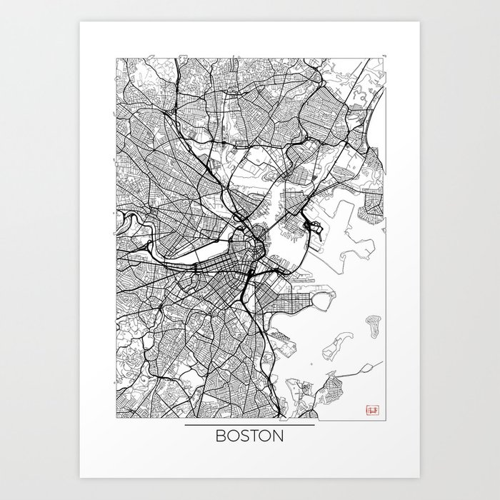 Boston Map White Art Print By Hubertroguski Society6