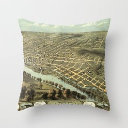Bird's Eye View of Lafayette, Indiana (1868) Throw Pillow