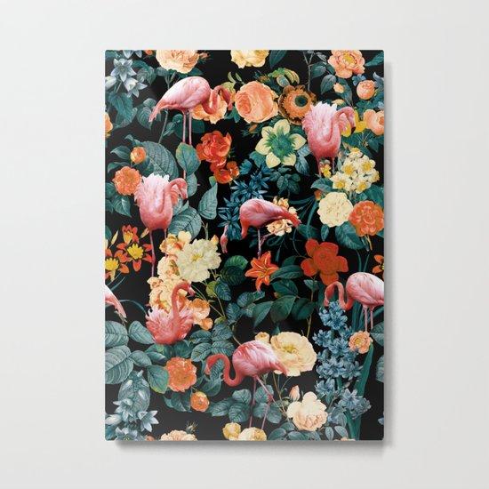 Floral and Flemingo II Pattern Metal Print