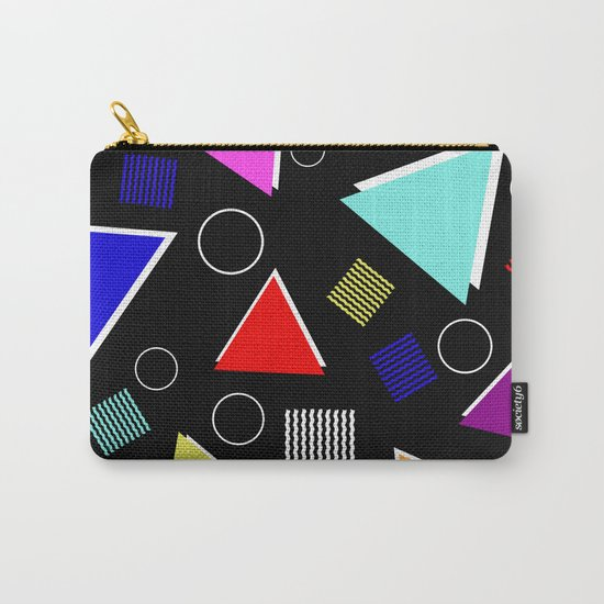 Fun Retro - Triangles, rings and waves patterned design, blue, red, purple, pink, yellow Carry-All Pouch