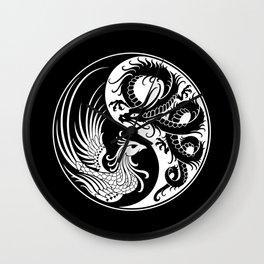 White and Black Dragon Phoenix Yin Yang Wall Clock