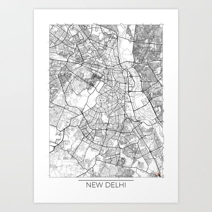 new delhi map white art print by hubertroguski society6new delhi map white art print
