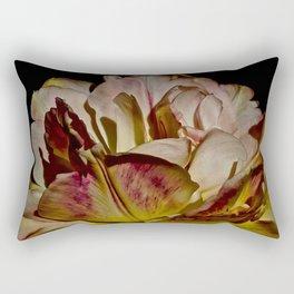 Bright Pink Tulip On Black Rectangular Pillow
