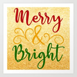 Merry and Bright Christmas Art Print