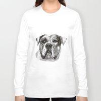 bulldog Long Sleeve T-shirts featuring Bulldog by Danguole Serstinskaja