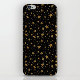 Starry Night Gold Twinkles iPhone Skin