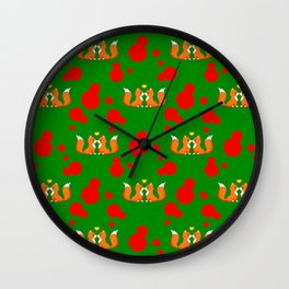 Cute lovely little foxes in love and bold red retro dots seamless pattern design. Romantic kiss. Wall Clock
