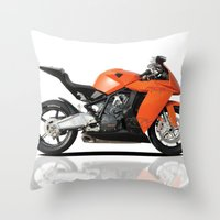 motorbike Throw Pillows featuring KTM RC8 motorbike by cjsphotos