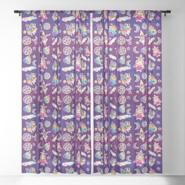 1997 Neon Rainbow Occult Sticker Collection Sheer Curtain