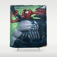 venom Shower Curtains featuring Venom and Spider-man by Brian Hollins art