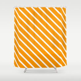 Neon Orange Diagonal Stripes Shower Curtain