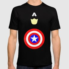 Captain America Black Mens Fitted Tee 2X-LARGE