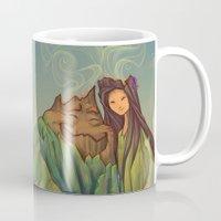 hallion Mugs featuring Volcano Love by Karen Hallion Illustrations