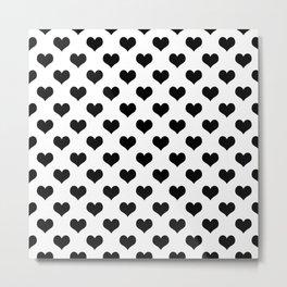 White And Black Hearts Minimalist Metal Print