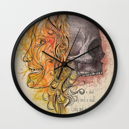 Lady and a skull Wall Clock