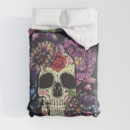 Day of the dead skull with flowers Comforters