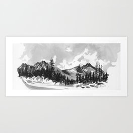 aquarell mountains Art Print