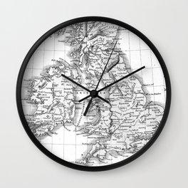 Vintage Map of The British Isles (1864) BW Wall Clock