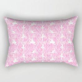Ballerinas Dance in Pale Pink Hexagon Tiles in Tutus - Ballet Art Rectangular Pillow