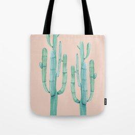 Besties Cactus Friends Turquoise + Coral Tote Bag