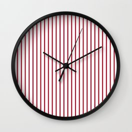 Royal Red Rose Pinstripe on White Wall Clock