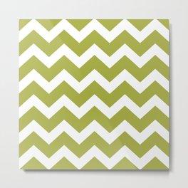 Retro Green Chevron Zig Zag Pattern Metal Print