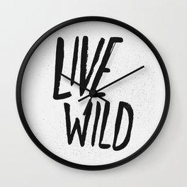 Live Wild Typography Wall Clock