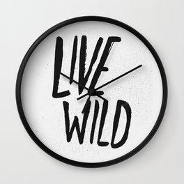 Live Wild Typography Wall Clock