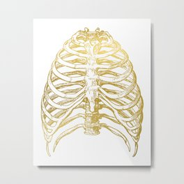 Gold Rib Cage Metal Print