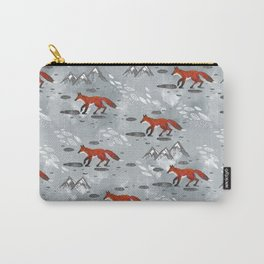 Little Mountain Foxes Grey Carry-All Pouch