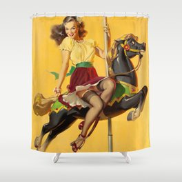 Pin Up Girl and Carousel Horse Shower Curtain