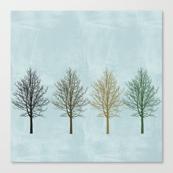 Four Colors Trees Canvas Print