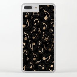 Music Pattern - Black and gold Clear iPhone Case