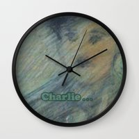 charlie Wall Clocks featuring Charlie by SliackyJo