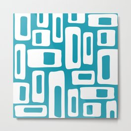 Retro Mid Century Modern Abstract Pattern 335 Turquoise Metal Print