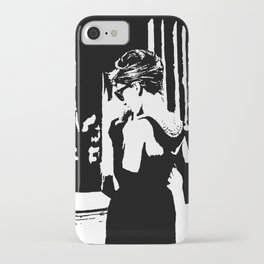 Audrey Hepburn in movie Breakfast at Tiffany's. Black and white portrait, monochrome stencil art iPhone Case