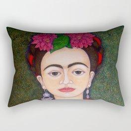 Frida portrait with dalias Rectangular Pillow