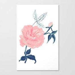 Vintage rose with indigo palette Canvas Print