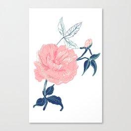 Vintage rose with indigo palette Canvas Print